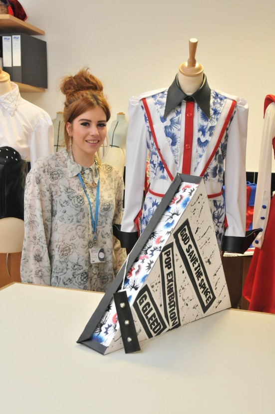 Student Georgina Gleed with her entry 'God Save the Spike' and packaging