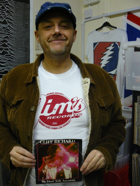 """Tony Wright (member of the band The Hurriers) brought along his favourite 7"""" We Don't Talk Anymore by Sir Cliff."""