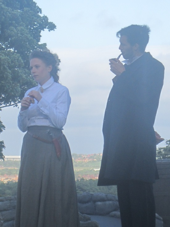 Benjamin Lawlor and Mollie Fyfe-Taylor as Holmes and Henrietta Baskerville.