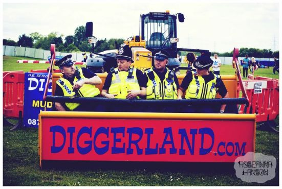 Four coppers get a sky-high view of the festival.