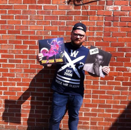 Stu Sheard, owner of Debut Records with a couple of recent purchases for the shop.