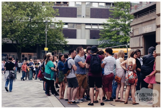 The queue outside City Hall waiting for first act of the day, Maybeshewill