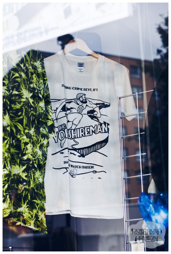 My very own t-shirt design The Yorkshireman in Balance's shop window, making me proud!