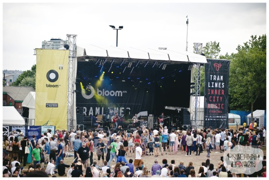 The crowd dancing around at the Devonshire Green stage