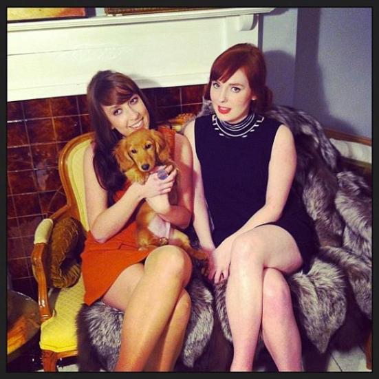 Lindsey (left), Claire and resident dog, Teddy.