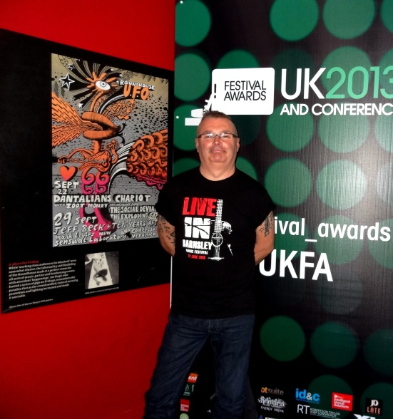 Representing Live in Barnsley at Camden's The Roundhouse, one of the festival organisers Dave Pearsal.