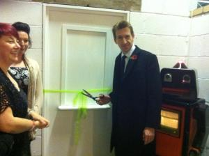MP Dan Jarvis opens Studio 70/5, with Sam Dexter and artist Corinne White.