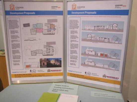 The consultation boards for the new development of the gallery.