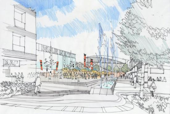 Artist impression of new town centre square