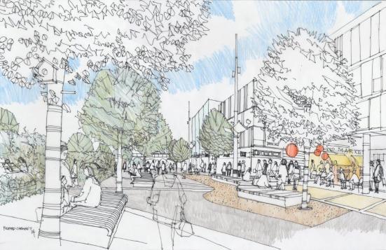 Artist impression of new shopping boulevard