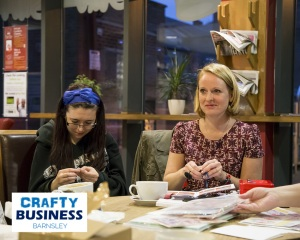 Steph Cronin (right) at the first Crafty Biz event, Oct 2014. Image by Amy Law.