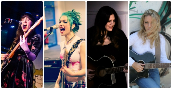 Left to right; Roxy Mitchel of Aztec Doll, Lauren Tate of Hands Off Gretel, Laura Kelly, Harriet Rose Grant.