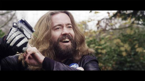 Screenshot of Justin Lee Collins in Time Slips.